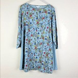[J. Jill] Blue Floral 3/4 Sleeve Top